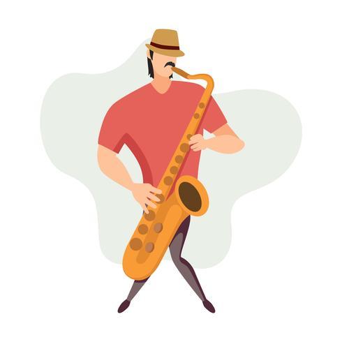 Een man saxofoon illustratie spelen
