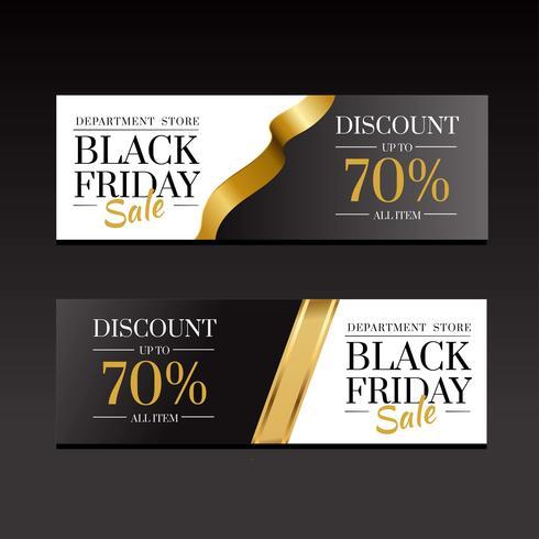 Plantilla de oro de lujo de Banners de venta de viernes negro