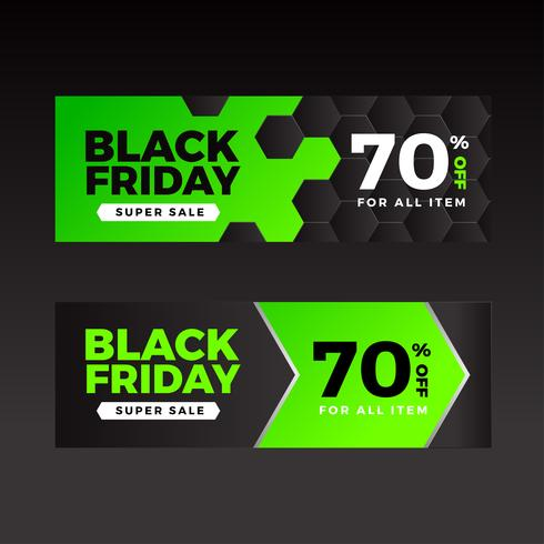 Black Friday Sale Banners Plantilla Verde vector