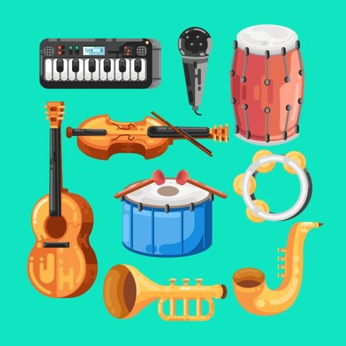 Music Instrument Knolling vector