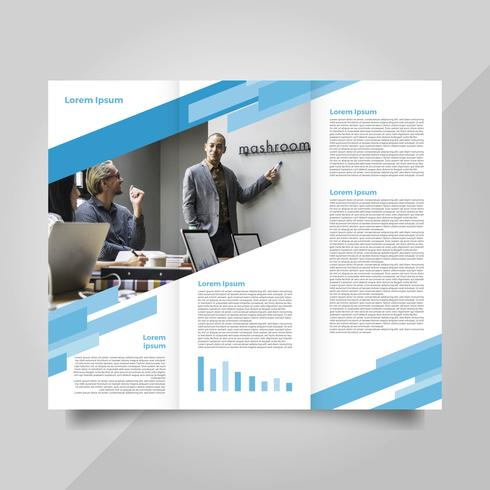 Platte moderne professionele blauwe brochure Vector sjabloon