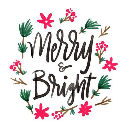 Carino fiore e foglie con citazione scritta a proposito di Natale vettore