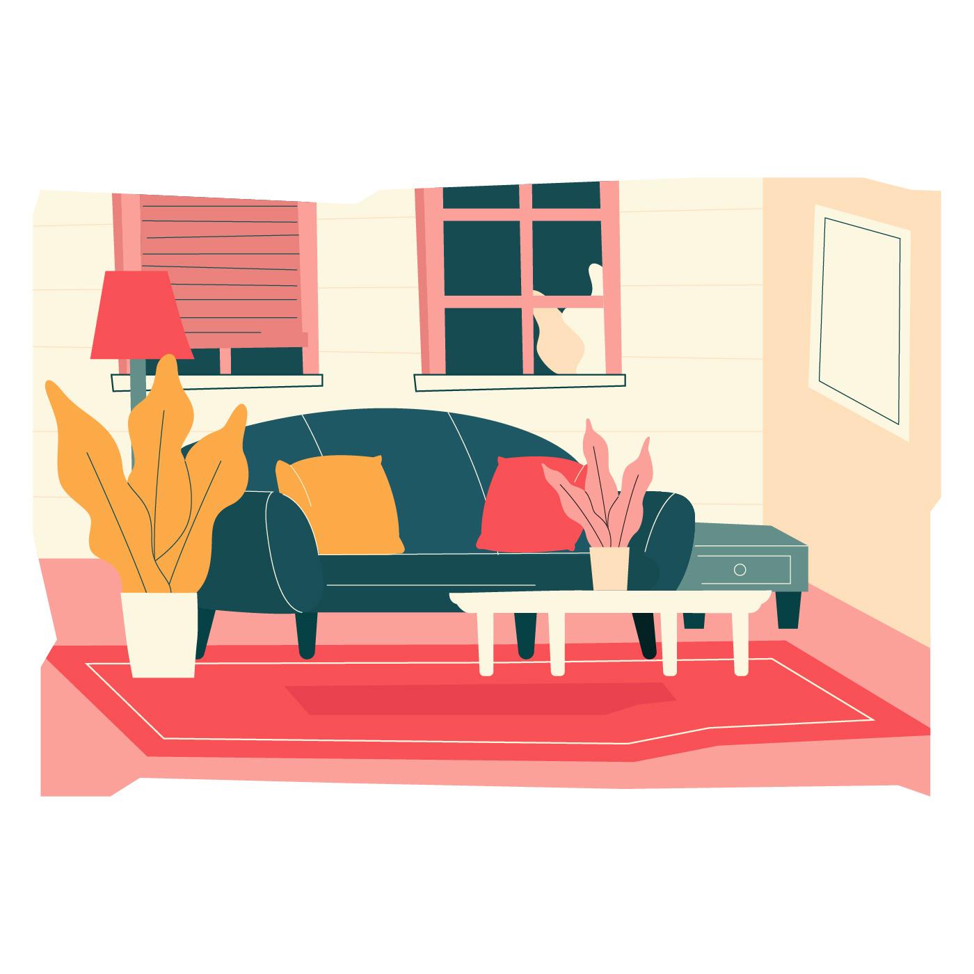 Cozy Living Room Vector Illustration
