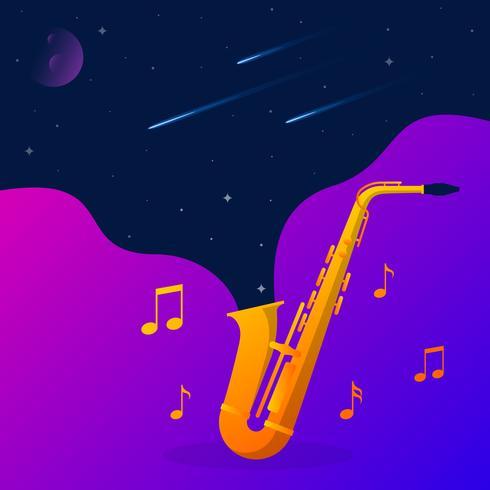 Raum-Sterne, die von einer Goldsaxophon-Vektor-Illustration schwimmen