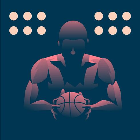 Retrato de sombra de luz de homem de basquete