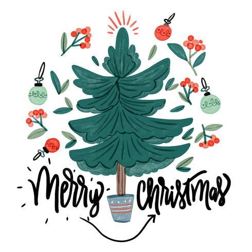 Söt julgran, löv, julkula och citat