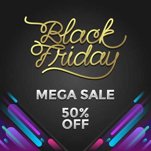 Black Friday Mega Venda Social Media Post Vector