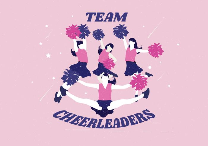 team cheerleaders vector