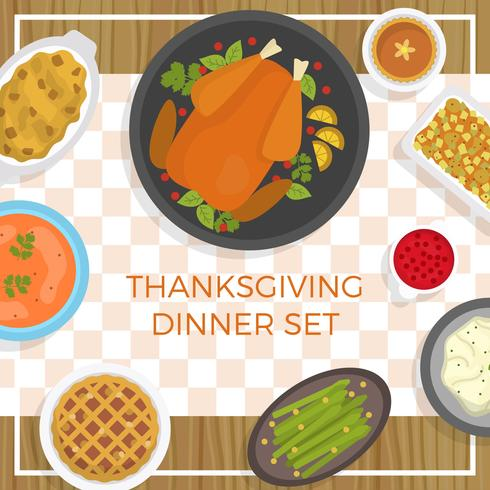 Flat Thanksgiving food table Vector Illustration