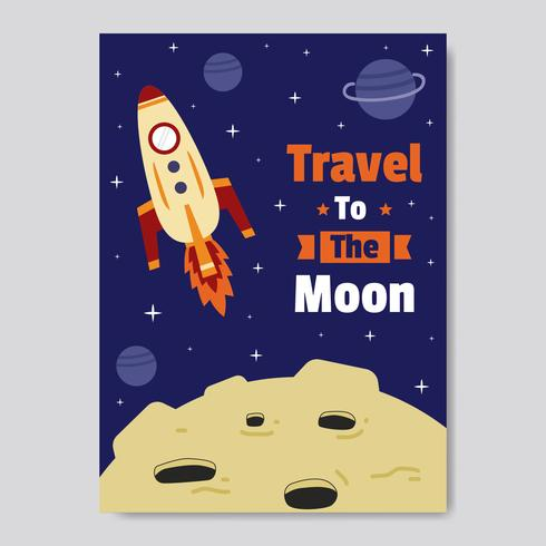 Travel To the Moon Poster Vector