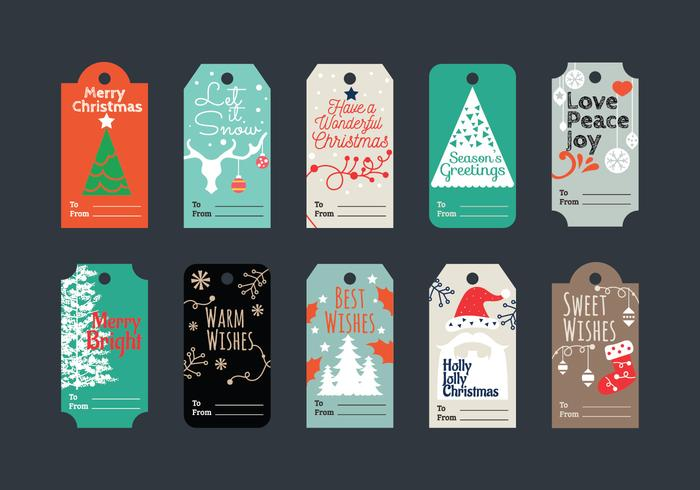 Minimalist and Beautiful Set of Christmas Gift Tags for Holiday Greetings