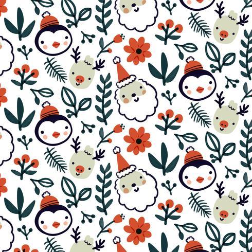 simpatico motivo natalizio con renne, pinguini e foglie