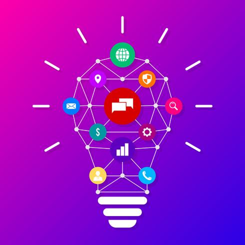 Creative Light Bulb With Drawing Business Strategy Plan Concept Idea Vector Illustration