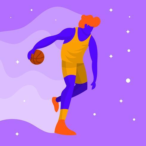 Flat Modern Basketball Player Vector Illustration