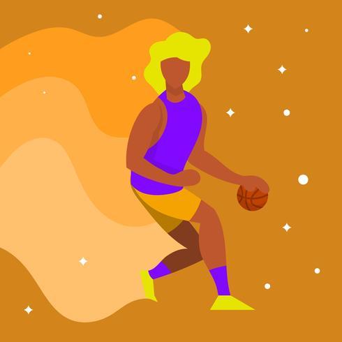 Flar Basketball Player Dribble Ball Vector Illustratie