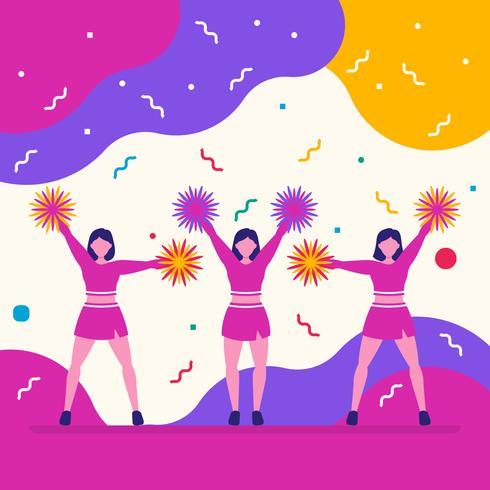 Mädchen trägt Cheerleader-Team auf flippigem Hintergrund zur Schau