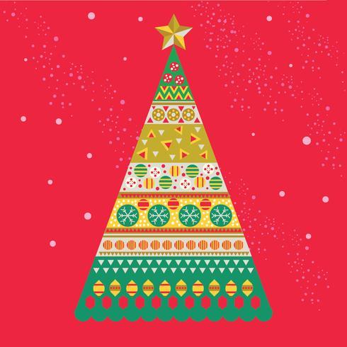 Scandinavian Style Mid-century Christmas Pine Tree in Festive Colours