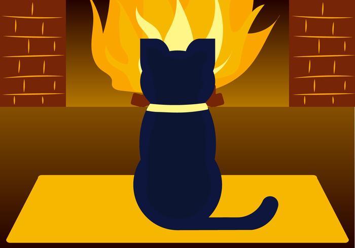 Katt vid eldstaden
