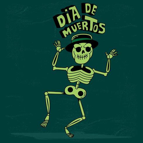 Netter Skelett-Tanz lokalisiert auf dunklem Grunge Hintergrund