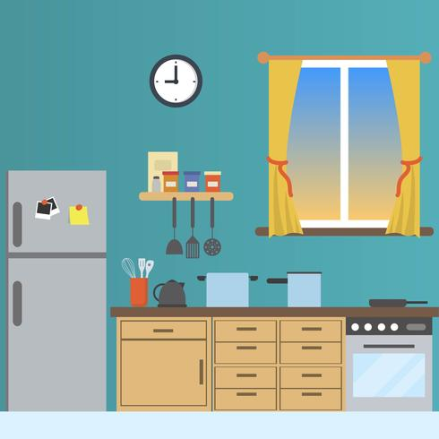 Flat Kitchen With Window View Vector Illustration