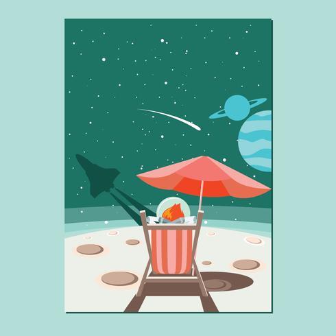 Glad man sitter på månen Njut av lyxig himmel med astronautens kostym