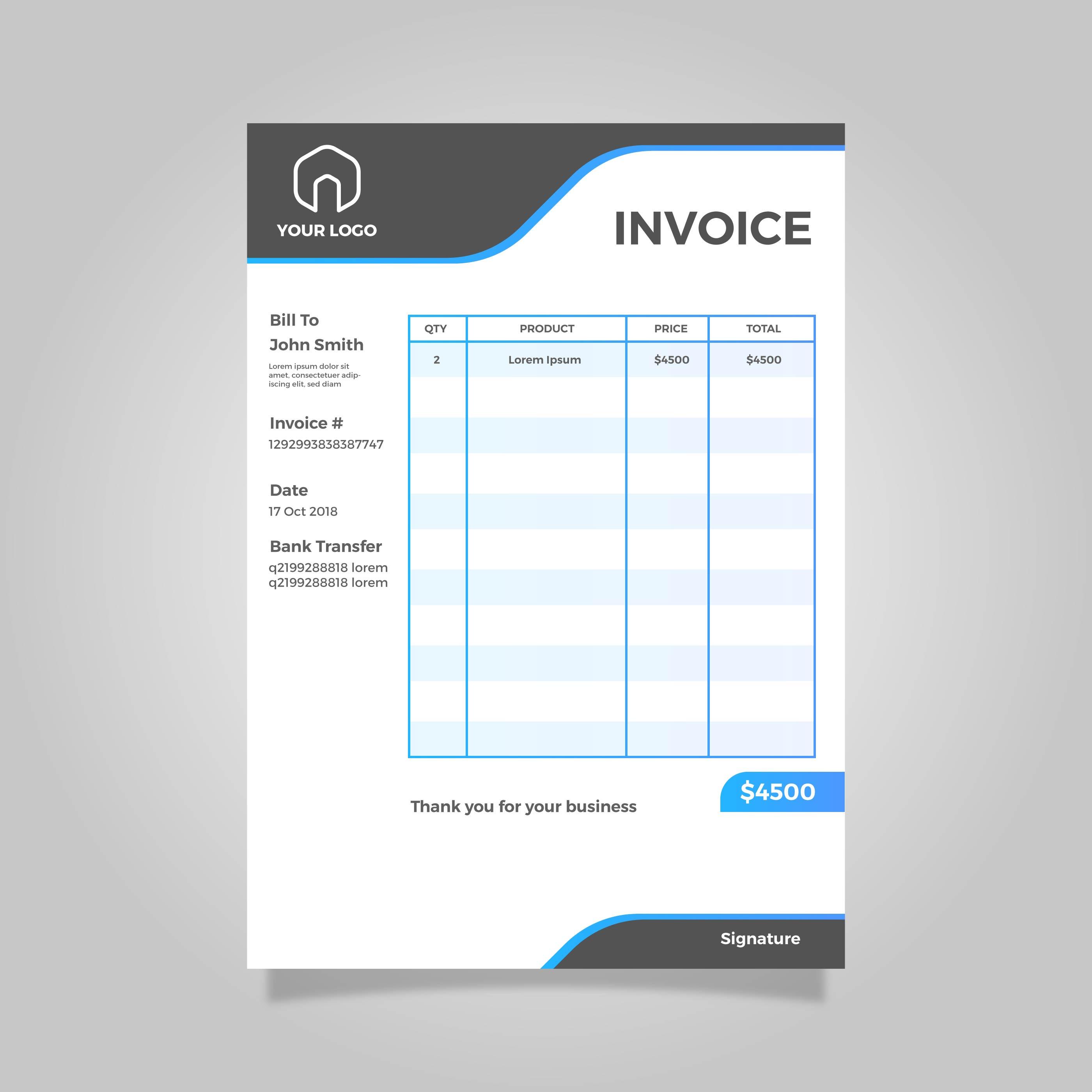 Modern Flat Invoice Vector Template