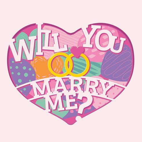 wil je met me trouwen met letters in papierstijl