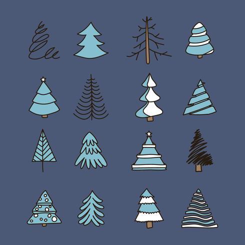 Árboles de navidad de la vendimia garabatos vector