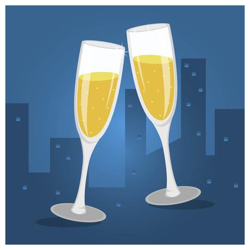 Flache Champagne Toast Glasses Vector Illustration