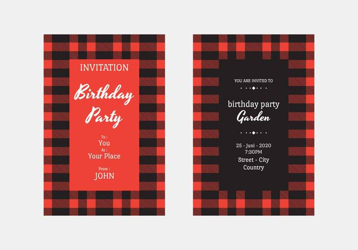 Buffalo Plaid uitnodiging Vector sjabloon