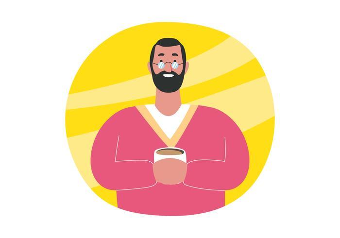 Bärtiger Mann, der Kaffee hält