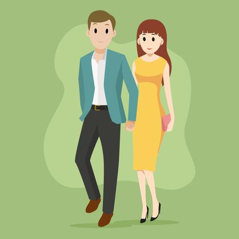 Couple in formal wear illustration