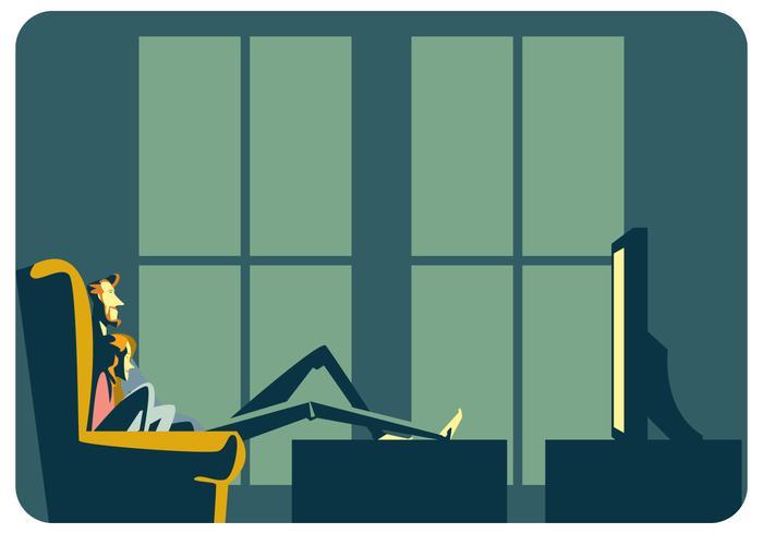 Una pareja viendo televisión vector