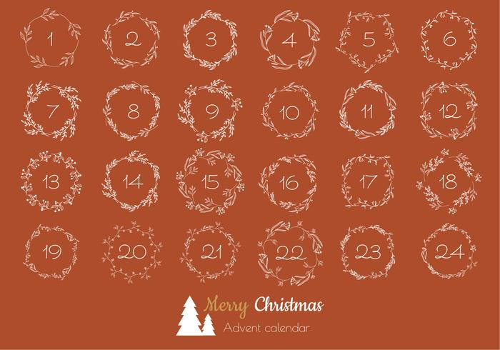 Botanical Wreaths Advent Calendar vector