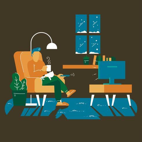 Een man wordt in de winter gezellig in de woonkamer