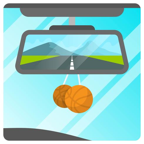 Vlakke Achteruitkijkspiegel van Auto met Landschaps Vectorillustratie Als achtergrond