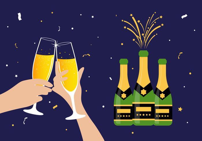 Ilustración de vector de champagne brindis