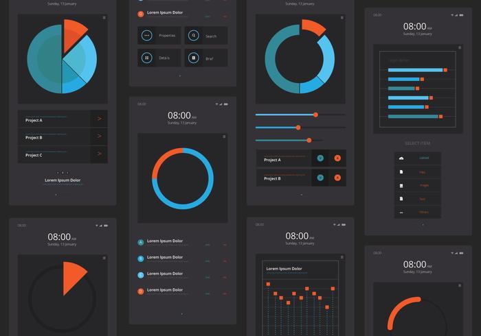 Charts UI Kit Mobile Elementsatz