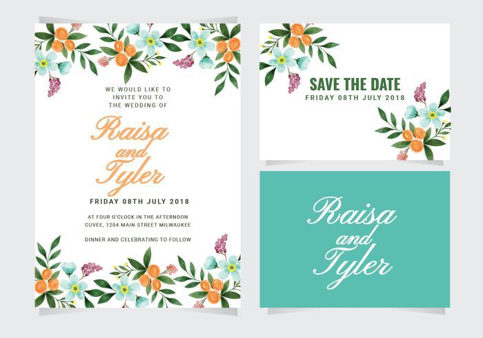 Vector kleurrijke bruiloft uitnodiging