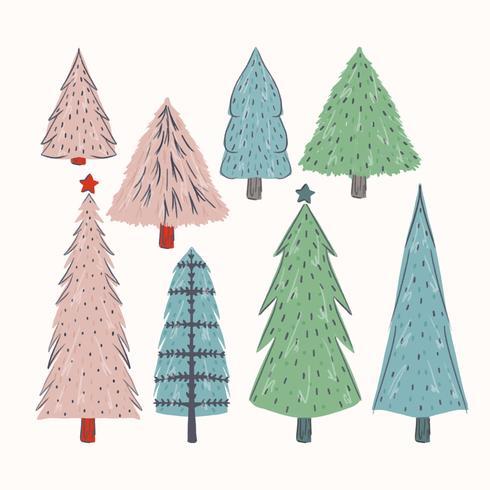 Vector Hand Drawn Christmas Trees