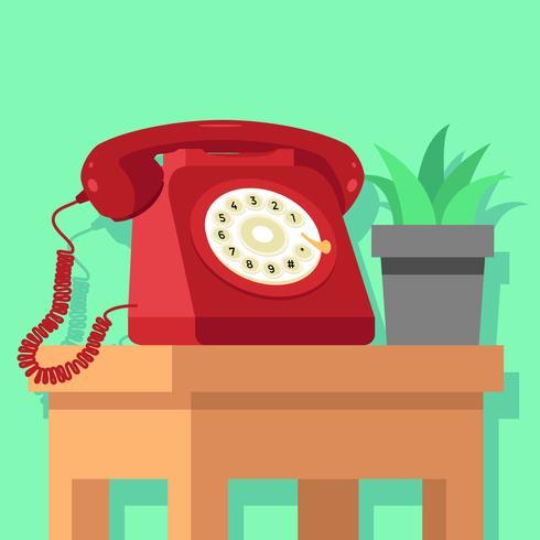 Rode roterende telefoon Vector