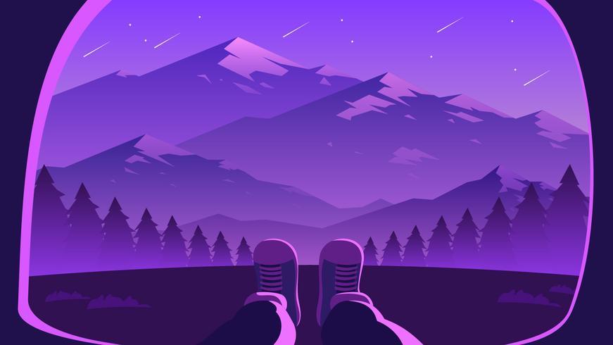 vallende sterren berglandschap eerste persoon vector