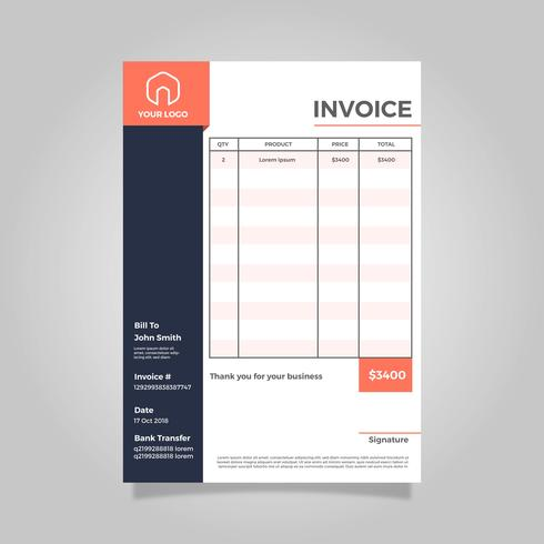 Flat Modern Minimalist Invoice Vector Template Download