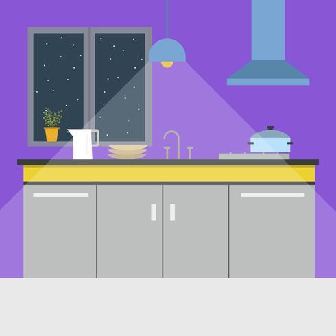 Flacher Kücheninnenraum mit Fenster-Vektor-Illustration