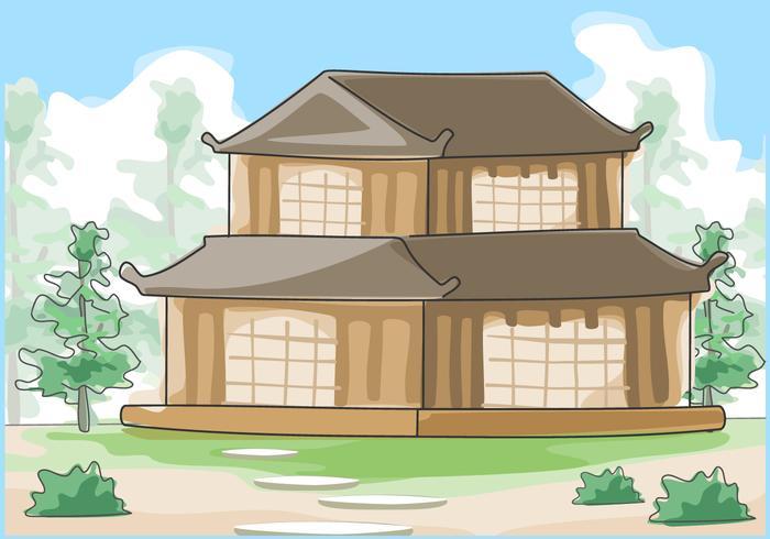 Traditionele Japanse huis buitenkant aquarel Vector