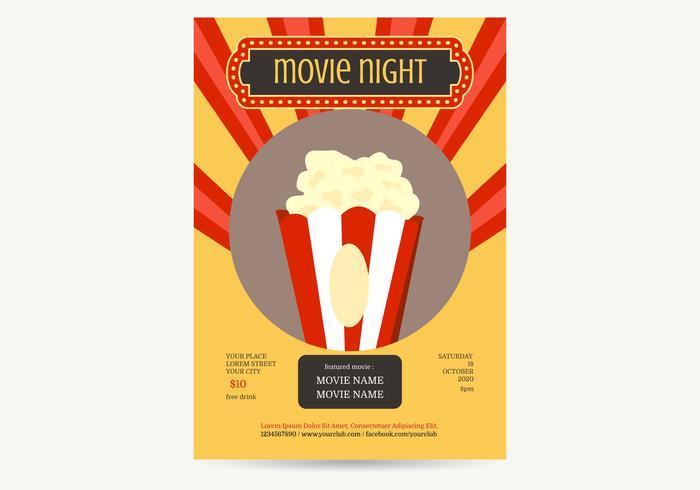 Movie Night Poster Vector Illustration