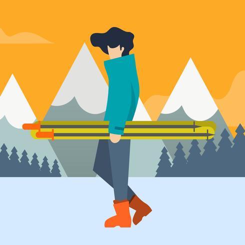 Flat Skier Bring his Ski Equipment Vector Illustration