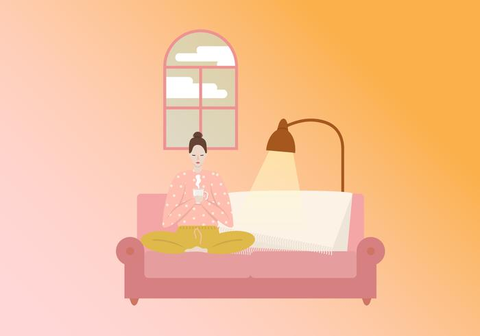 Lady Enjoy Drink On Sofa vector