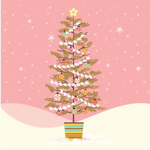 Middeleeuwse kerstboom retro stijl ingericht