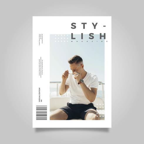 Platte moderne eenvoudige stijlvolle tijdschriftdekking sjabloon